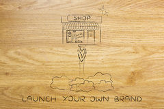 New store launch, little shop flying like a rocket Royalty Free Stock Images