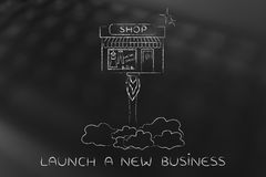 New store launch, little shop flying like a rocket Stock Photo