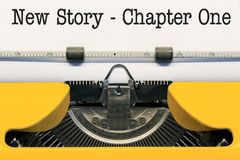 New Story Chapter One. Written by an Old Yellow Type Writer stock photography