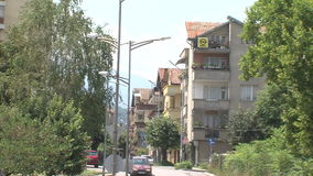 New street in the Petrich, Bulgaria. Petrich - a small town in seismic zone of Bulgaria, near the border with Greece. Petrich is famous for the fact that there stock video