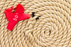 New strong rope with red marker for a tug of war Royalty Free Stock Image