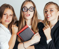 New student bookwarm in glasses against casual Royalty Free Stock Photo
