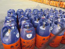New Style Lightweight Butane gas bottles at depot. Alora, Spain - July 18. 2017: Butane gas bottles at depot in Andalusian countryside Stock Images