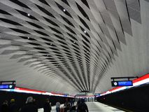 The roof of a station and is every thing alright ?. New style to make a roof to a Metro station here in Espoo Finland stock photo