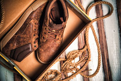 The new stylish men's shoes in a box. Fashion Stock Photography