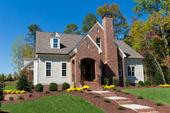New suburban house. Newly construvted suburban house for sale Stock Photos