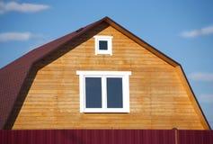 New suburban rural wooden house closeup Stock Image
