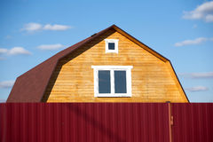 New suburban rural wooden house closeup Royalty Free Stock Photo