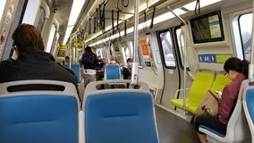 New Subway Trains. The new subway trains for the Bay Area Rapid Transit District BART roaming the San Francisco Oakland Bay Area royalty free stock images