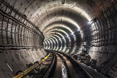 New subway tunnel royalty free stock photography