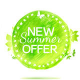 New summer offer green colors pencil drawing label Stock Images