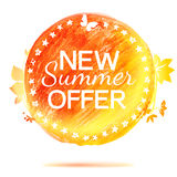 New summer offer pencil drawing label Royalty Free Stock Images