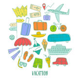 00NEW. Summer vacation cartoon colorful doodle drawings including  elements: transport; suitcases and different beach stuff. Traveling illustration for your Stock Image