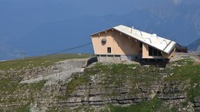 New summit station of the Chaserrugg cable car Stock Image