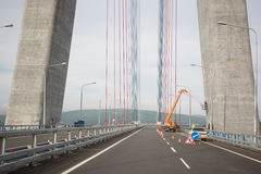 New suspension cable bridge in Vladivostok Stock Photos