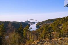 New Svinesund bridge. Svinesund bridge is a motorway bridge over Svinesund (Ringdal fjord) on the border between Norway and Sweden. Construction period 2003 Stock Images