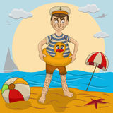 New swimmer on the beach Royalty Free Stock Image