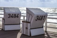 New Sylt - New black and white beach chairs Stock Images