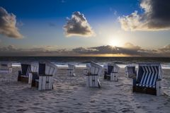 New Sylt - New blue white beach chairs Royalty Free Stock Photo