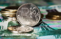 New symbol one rouble coins Stock Photo