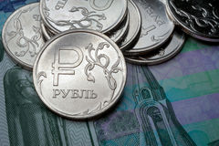New symbol one rouble coins. Russian currency Stock Image