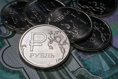 New symbol one rouble coins Stock Photography