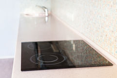 New tabletop with built-in cooking panel and sink Royalty Free Stock Photography