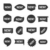 New tag set. Sticker for shop in black and white, recent or modern collection image. Vector flat style cartoon illustration isolated on white background royalty free illustration
