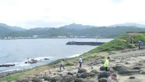 The Elephant Trunk Rock at the coast of Taiwan, Shenao, New Taipei, Taiwan stock video