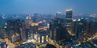 New Taipei City Skyline Aerial View in Evening - Asia modern business city. Royalty Free Stock Image