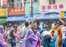 Unidentified people in water fight for Songkran Festival royalty free stock images