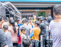 Unidentified people in water fight for Songkran Festival royalty free stock photos