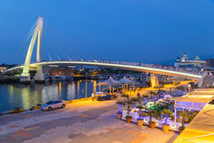 New Taipei City, Taiwan - circa August 2015: Lover Bridge of Tamsui in New Taipei City, Taiwan at  sunset Stock Photos