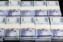 New Taiwan Dollars in stacks Stock Image
