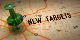 New Targets - Green Pushpin on a Map Background. Royalty Free Stock Images