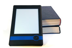 New technologies. Two books and bookreader on a white background Royalty Free Stock Photography