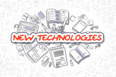New Technologies - Doodle Red Text. Business Concept. Royalty Free Stock Photo