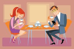 New technologies and family. Husband and wife are sitting at the dining table and not talk, but looking at their phones vector illustration