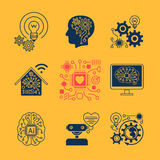 New technologies icons. Artificial Intelligence signs and smart innovation symbols. Vector illustration Stock Image