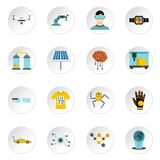 New technologies icons set, flat style Royalty Free Stock Images