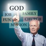 New technologies for old truths. Senior pastor showing the priorities in our life Stock Photos