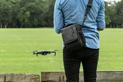 Learning to fly a drone. New technologies require a learning period. Mastering skills requires patience and practice royalty free stock image