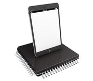 New Technology Concept. Tablet PC over micro chip Royalty Free Stock Image
