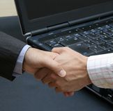 New technology deal. In the office Royalty Free Stock Photo