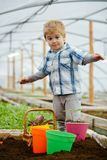 New technology in farming. innovation in new technology in farming. small boy farming with new technology. new. Technology in farming concept. modern life royalty free stock images