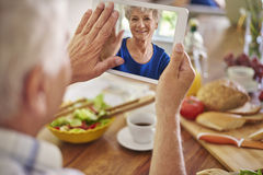 New technology helping to stay in touch Royalty Free Stock Images