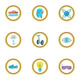 New technology icon set, cartoon style. New technology icon set. Cartoon style set of 9 new technology vector icons for web isolated on white background Stock Photo
