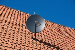 New technology on an old roof stock images