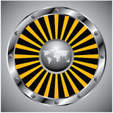 New technology view. Bright circular metallic background with a yellow and black burst around a world map Royalty Free Stock Photography