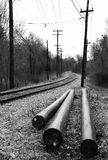 New Telephone Poles. Ready to install on trolley track - black and white stock image